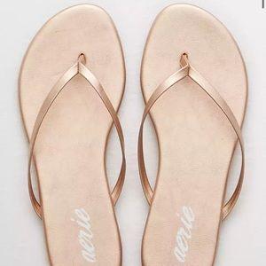 New Aerie Rose Gold Slip On Thong Sandals